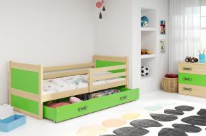BMS group Detská posteľ RICO1 /200 FARBA KONŠTRUKCIE: Borovica, DOPLNKOVÁ FARBA: Zelená