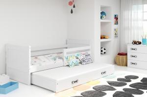BMS group Detská posteľ RICO2 190/dvojlôžko FARBA KONŠTRUKCIE: Biela, DOPLNKOVÁ FARBA: Ružová
