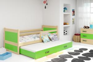 BMS group Detská posteľ RICO2 200/dvojlôžko FARBA KONŠTRUKCIE: Borovica, DOPLNKOVÁ FARBA: Zelená