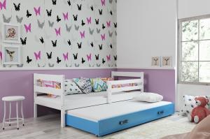BMS group Detská posteľ s prístelkou Eryk 2 FARBA: Biela, ROZMER: 90 x 200 cm, DOPLNKOVÁ FARBA: Modrá