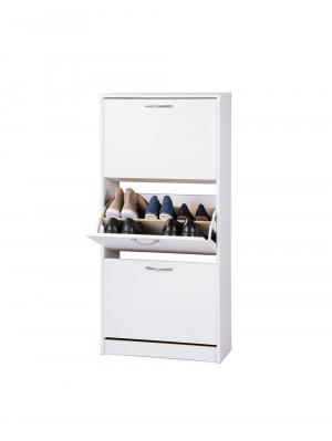 Botník s 3 výklopnými zásuvkami Zora, 123,5 cm, biela