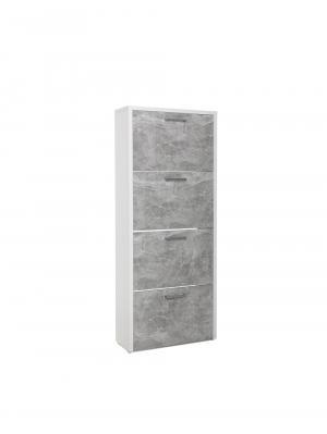 Botník s 4 výklopnými zásuvkami Cali, 152 cm, biela/betón