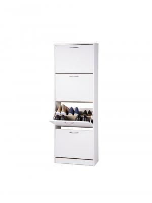 Botník s 4 výklopnými zásuvkami Zora, 162 cm, biela