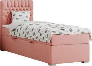 Boxspringová posteľ, jednolôžko, lososová, 90x200, ľavá, FONDA