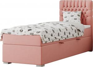 Boxspringová posteľ, jednolôžko, lososová, 90x200, pravá, FONDA