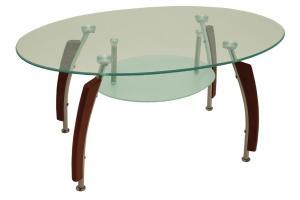 Bradop Jedálenský stôl oválny, sklo + masív GUSTAV S83
