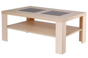 Bradop Konfenční stolík ALAN, obdĺžnik, sklo, police K115