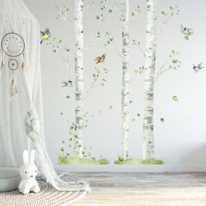 Brezy s vtáčikmi - samolepky na stenu