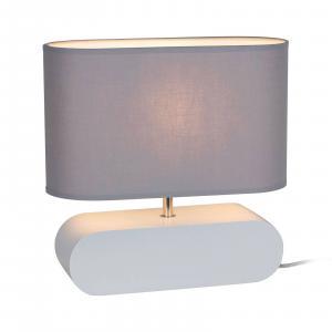 EULUNA Stolná lampa Cassy, podstavec biely, sivé tienidlo
