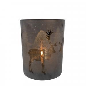 Bronzový sklenený svietnik s jeleňom - Ø 10 * 12,5cm