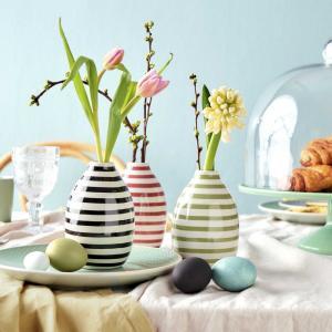 Butlers CARO Váza prúžkovaná 9 cm - biela/šalviová