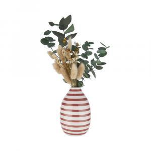 Butlers CARO Váza prúžkovaná 9 cm - biela/sv. červená