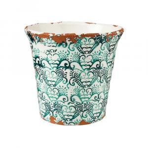 Butlers TERRACOTTA Kvetináč vzorovaný 14 cm - zelená