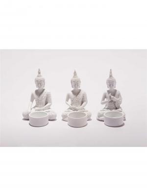 Čajové svietniky Budha, 13 cm, 3 ks, biela
