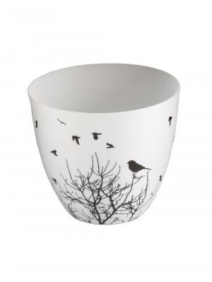 Čajový svietnik porcelánový Porslin II., 9 cm, biela/čierna