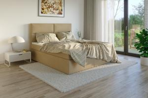 Čalouněná postel DATO Boxsprings, béžový semiš Rozměr: 200 x 200 cm