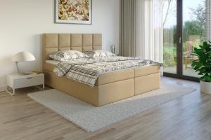 Čalouněná postel TENANG Boxsprings, béžový semiš Rozměr: 200 x 200 cm