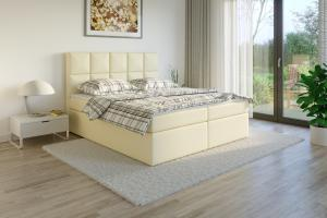 Čalouněná postel TENANG Boxsprings, krémová ekokůže Rozměr: 200 x 200 cm