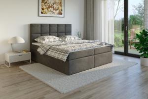 Čalouněná postel TENANG Boxsprings, tmavě šedá látka Rozměr: 140 x 200 cm