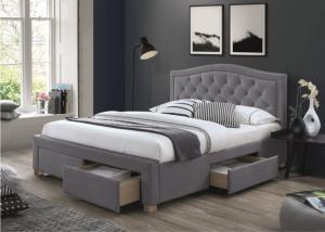 Sivá čalúnená posteľ ELECTRA VELVET 160 x 200 cm Matrac: Matrac COCO MAXI 23 cm