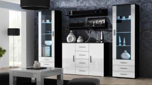 CAMA MEBLE Obývacia stena SOHO 3 Farba: čierna/biela