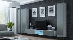 CAMA MEBLE Obývacia stena VIGO 18 Farba: biela/sivá