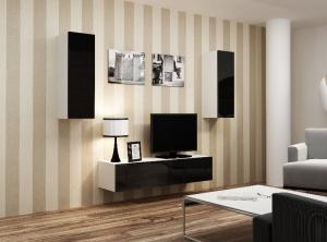 CAMA MEBLE Obývacia stena VIGO 7 Farba: biela/čierna