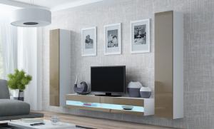 CAMA MEBLE Obývacia stena VIGO NEW 4 Farba: biela/latte