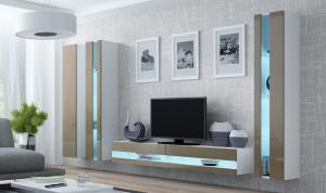 CAMA MEBLE Obývacia stena VIGO NEW 6 Farba: biela/latte