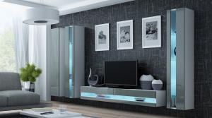 CAMA MEBLE Obývacia stena VIGO NEW 6 Farba: sivá/biela