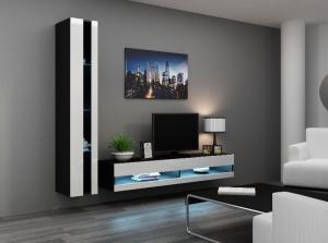 CAMA MEBLE Obývacia stena VIGO NEW 8 Farba: čierna/biela