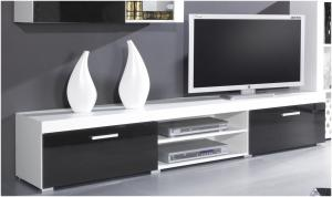 CAMA MEBLE Samba REG8 tv stolík biela / čierny lesk