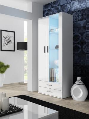 CAMA MEBLE Soho S6 vitrína biela / biely lesk