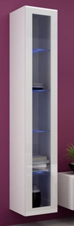 CAMA MEBLE Vigo 180 vitrína na stenu so sklom biela / biely lesk