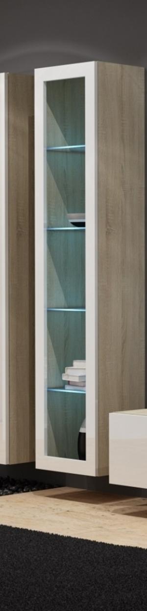 CAMA MEBLE Vigo 180 vitrína na stenu so sklom dub sonoma / biely lesk