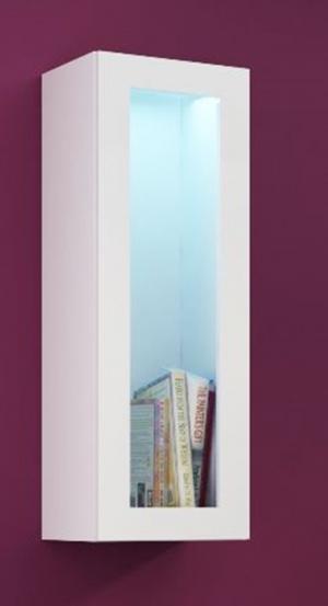 CAMA MEBLE Vigo 90 vitrína na stenu so sklom biela / biely lesk