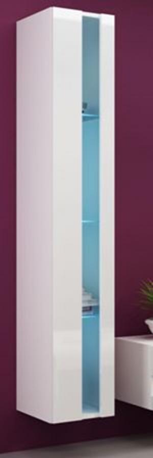 CAMA MEBLE Vigo New 180 vitrína na stenu biela / biely lesk