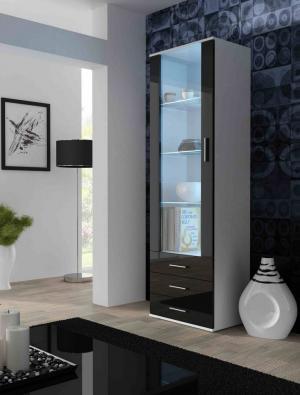 CAMA MEBLE Vitrína SOHO stojace Farba: biela/čierna