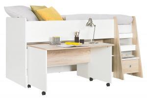 Carryhome HRACIA POSTEĽ, 90/200 cm, kompozitné drevo, biela, farby dubu - biela, farby dubu