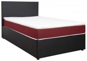 Carryhome POSTEĽ BOX, 120/200 cm, textil, kompozitné drevo, červená, čierna - červená, čierna