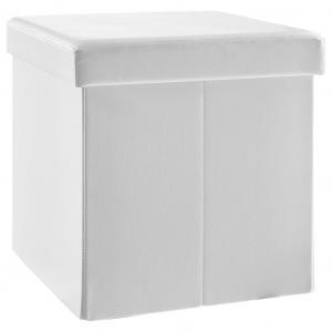 Carryhome SEDACÍ BOX, textil, kompozitné drevo, 38/38/38 cm - biela