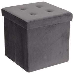 Carryhome SEDACÍ BOX, textil, kompozitné drevo, 38/38/38 cm - sivá