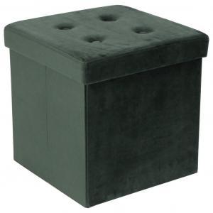 Carryhome SEDACÍ BOX, textil, kompozitné drevo, 38/38/38 cm - zelená