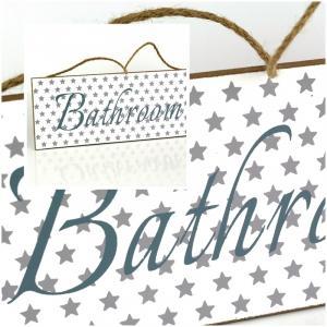Ceduľa kúpeľňa BATHROOM biela 30x12cm