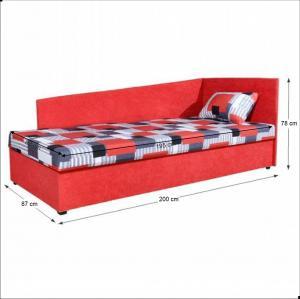 Celočalúnená váľanda so sendvičovým matracom, pravá, červená/vzor, EDVIN 4 LUX
