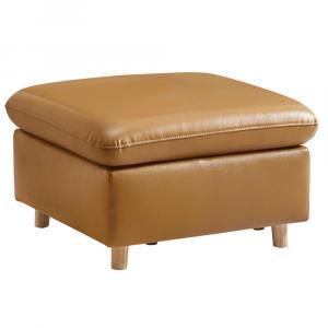 Celočalúnený taburet, koža/ekokoža zlatohnedá, LINSY