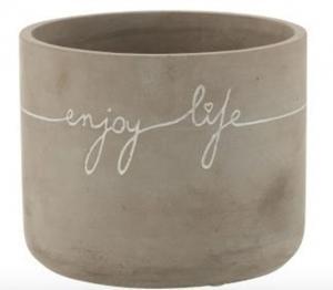 Cementový kvetináč Enjoy Life L - Ø 16 * 13 cm