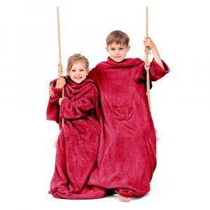 Červená detská televízna deka s rukávmi DecoKing Lazykids