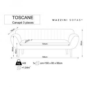 Červená zamatová pohovka Mazzini Sofas Toscane, 188 cm