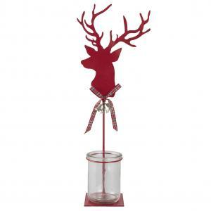 Červený svietnik Jelen - 17 * 8 * 42 cm